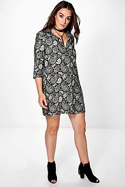 Plus Aria Paisley Shirt Dress