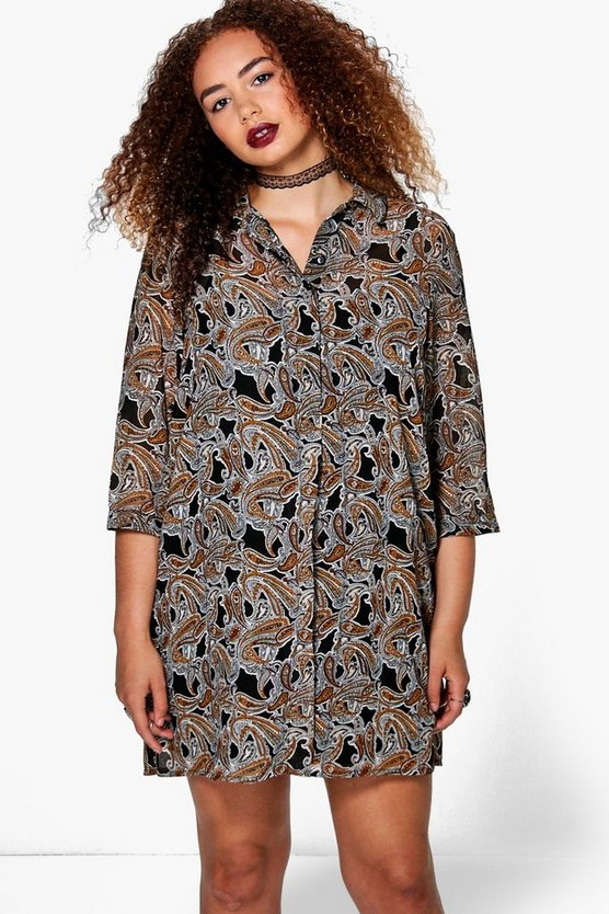 Plus Marin Paisley Shirt Dress