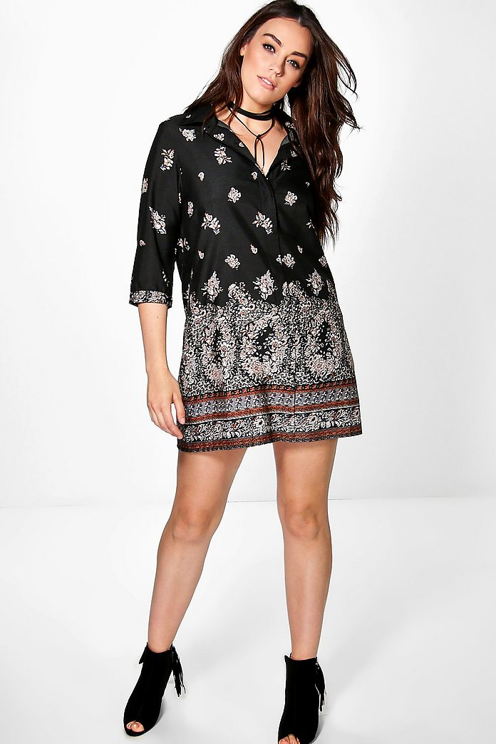 Plus Silvia Border Print Shirt Dress
