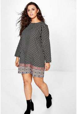 Plus Delia Border Print Shift Dress