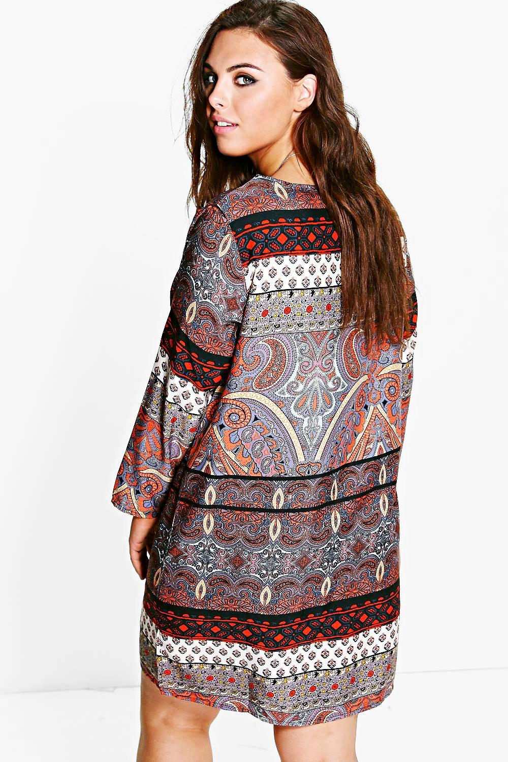 Plus Annora Paisley Shift Dress at boohoo.com