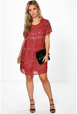 Plus Mona Sequin Embellished Shift Dress