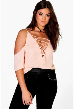 Plus Jennie Lace Up Open Shoulder Blouse