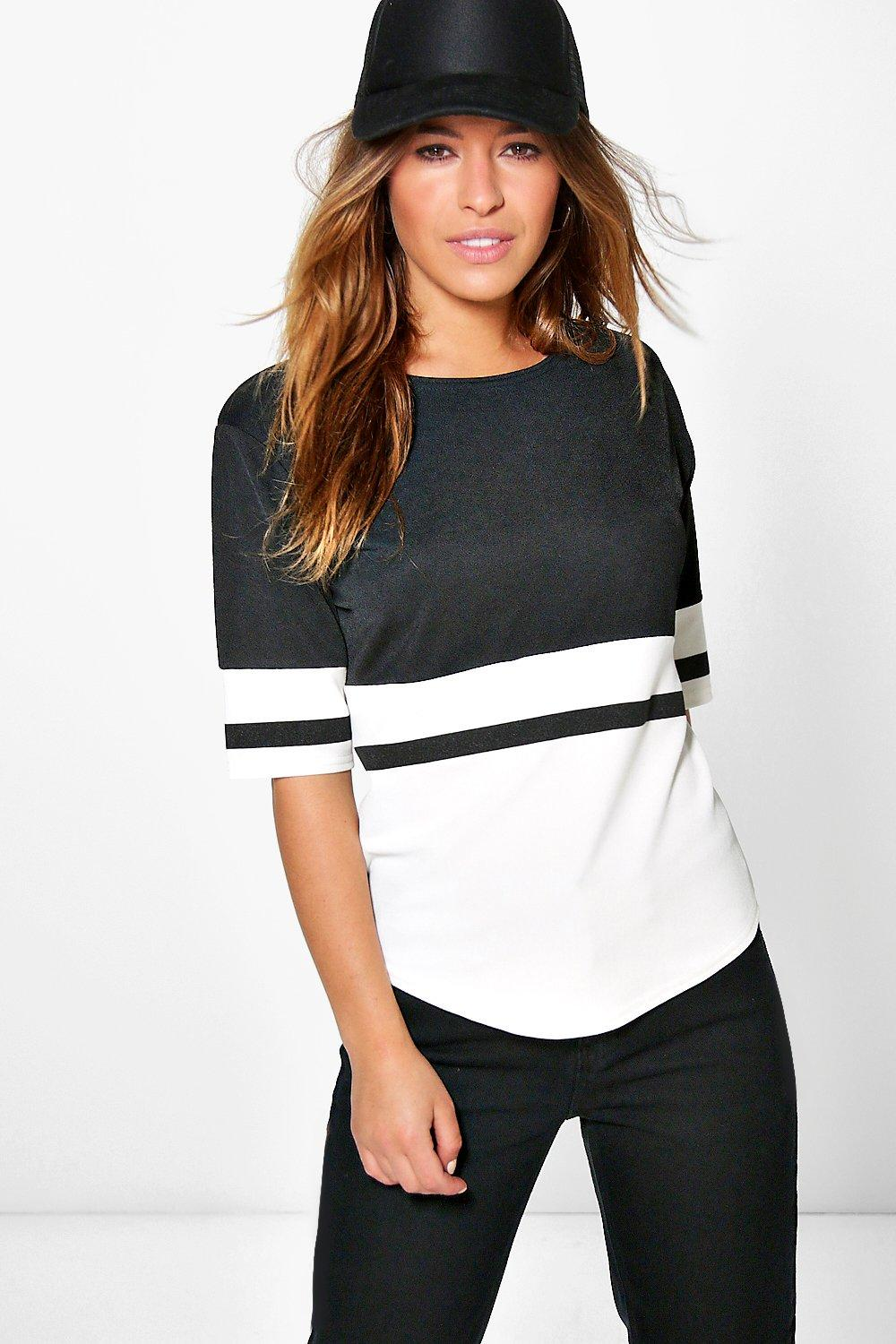 Petite Mila Colour Block Oversized Tee