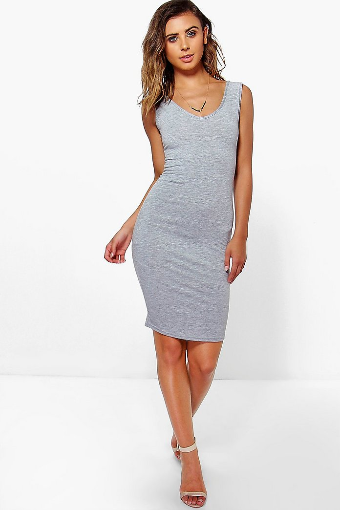 Petite Milly V Neck Jersey Midi Dress