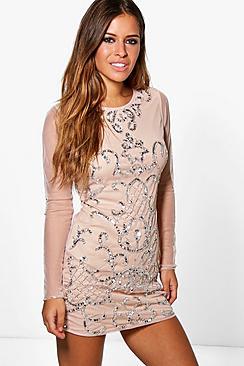 Petite Ola Embellished Long Sleeve Bodycon Dress