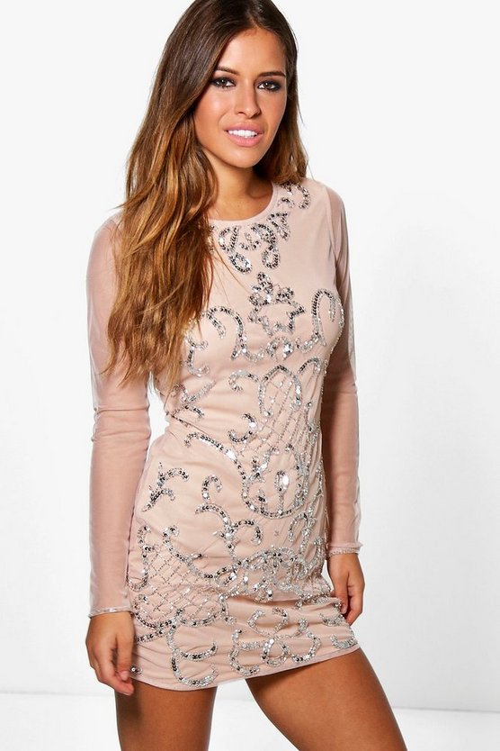 Petite Ola Embellished Long Sleeve Bodycon Dress