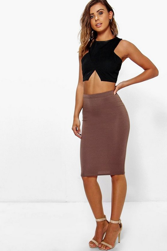 Petite April Basic Midi Bodycon Skirt