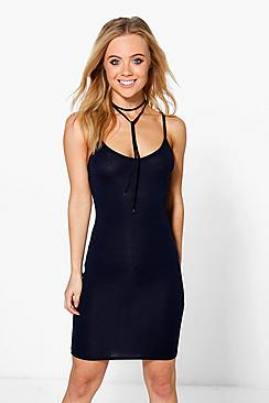 Petite Maisy Basic V Neck Bodycon Dress