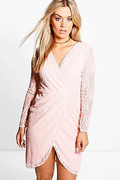Plus Alicia Lace Wrap Front Dress