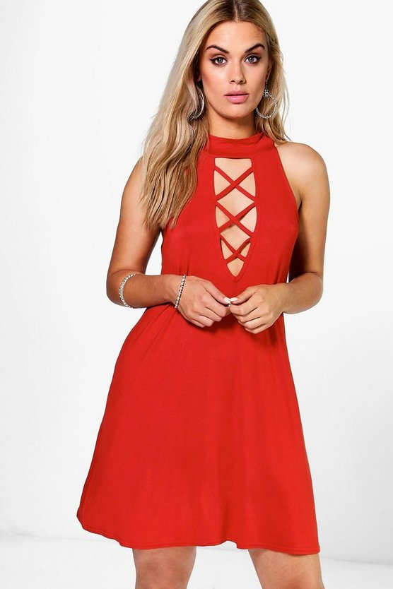 Plus Gwen Tie Neck Swing Dress