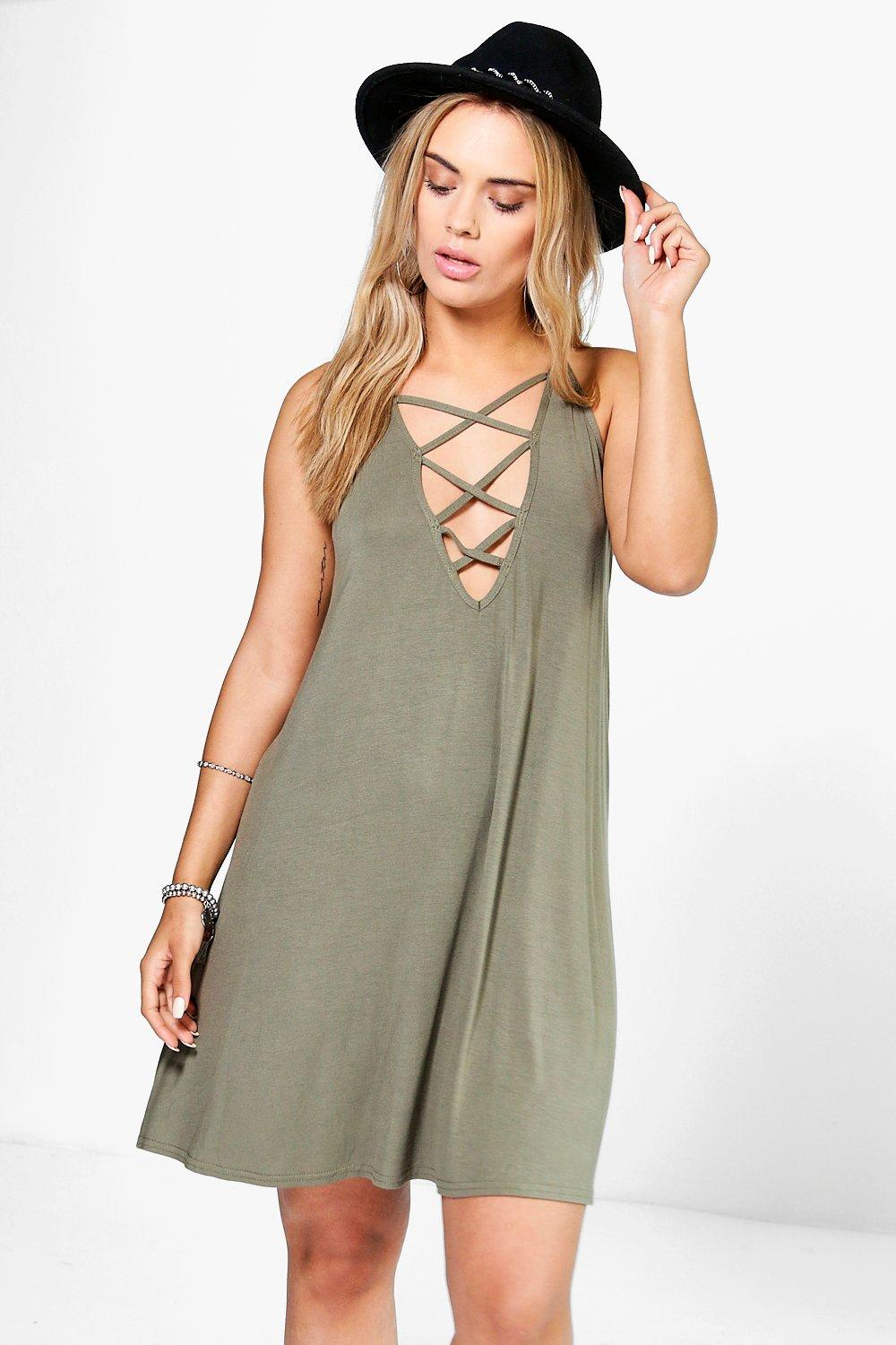 Plus Hailie Lace Up Swing Dress