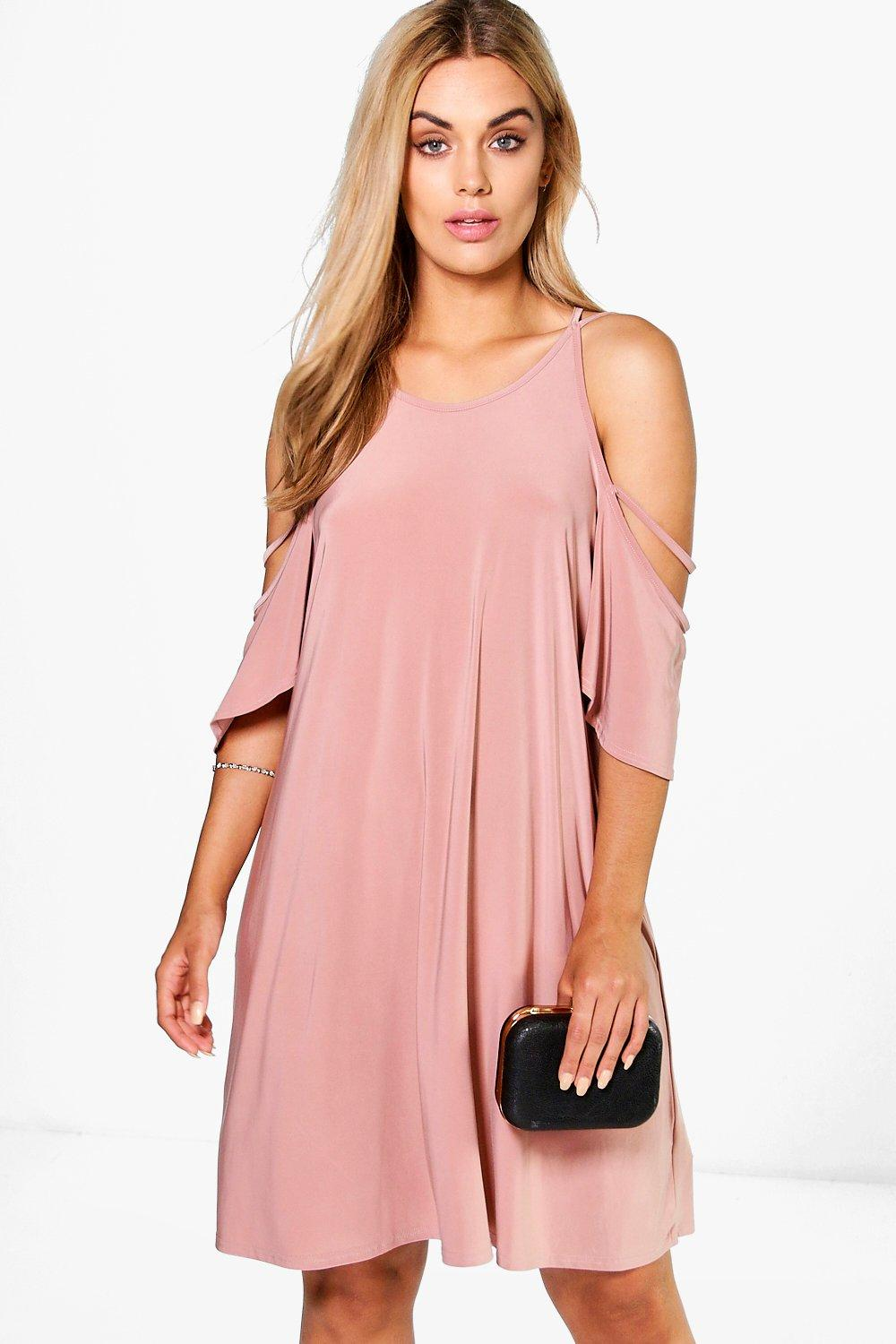 Plus Safia Open Shoulder Slinky Swing Dress