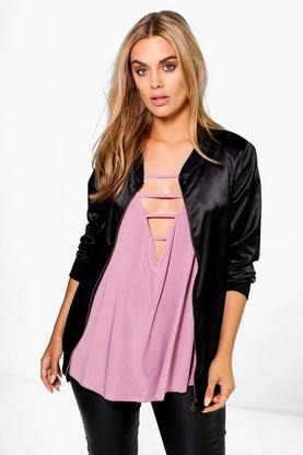 Plus Kadie Loose Satin Bomber Jacket