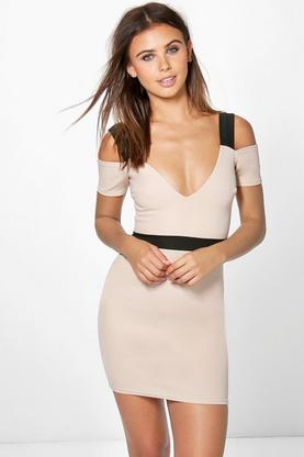 Petite Issy Plunge Open Shoulder Bodycon Dress