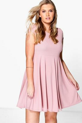 Plus Jacey Rib Basic Skater Dress