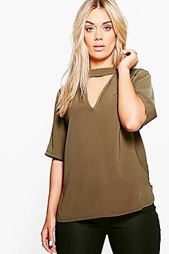 Plus Bluse mit offenem Kragen - Boohoo.com