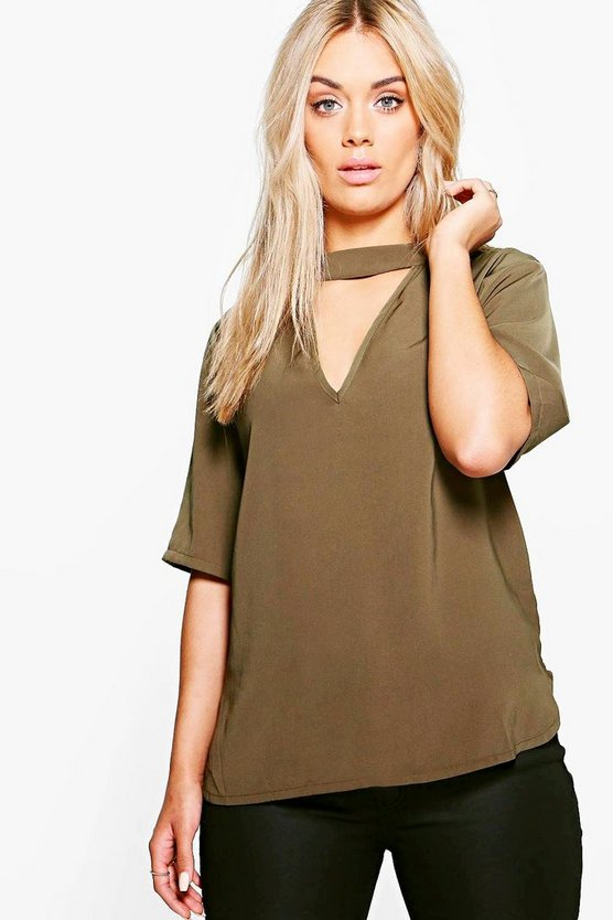 Plus Melody Open Neck Blouse