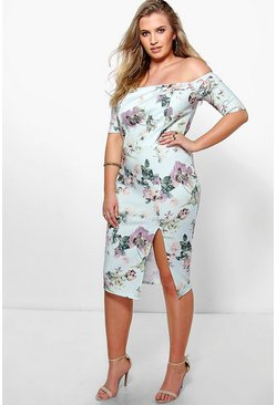 Plus Alina Bardot Floral Midi Dress