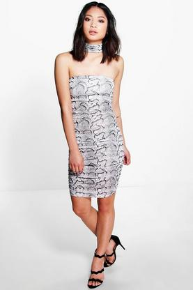Petite Kara High Neck Snake Print Bodycon Dress