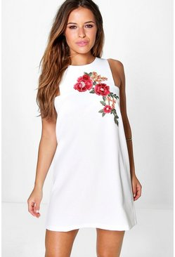 Petite Aria Embroidered Shift Dress