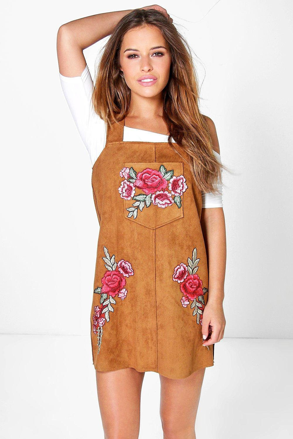Petite Gaby Embroidered Suede Pinafore Dress