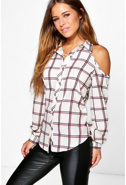 Petite Erica Open Shoulder Check Shirt