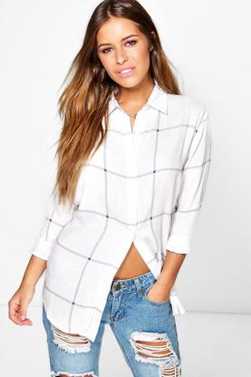 Petite Ebony Large Grid Oversized Shirt