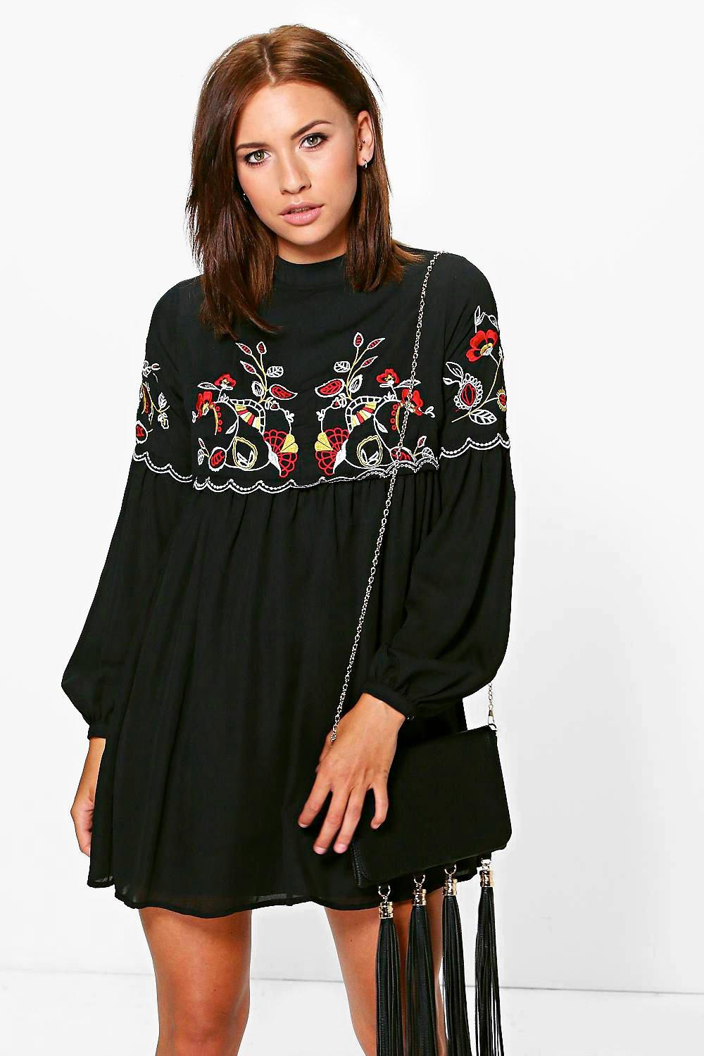 Petite Connie Embroidered Smock Dress