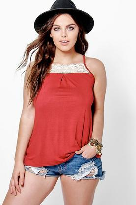Plus Oriel Crochet Trim Swing Cami