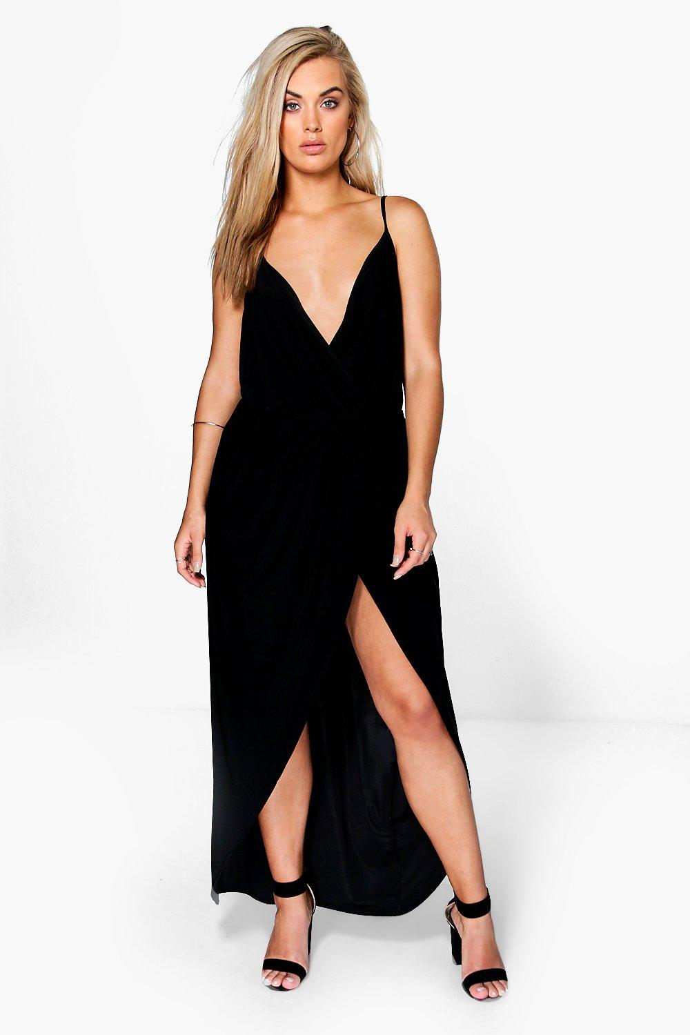 Plus Malia Strappy Slinky Wrap Maxi Dress