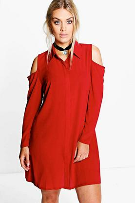Plus Camille Cold Shoulder Shirt Dress