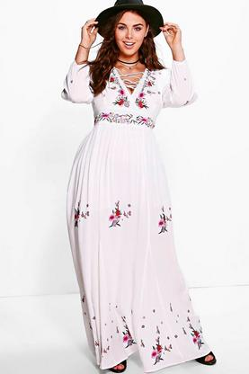 Plus Ellenor Embroidered Maxi Dress