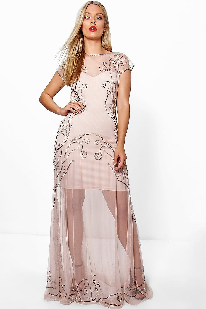 Plus Madalina Beaded Sweetheart Maxi Dress