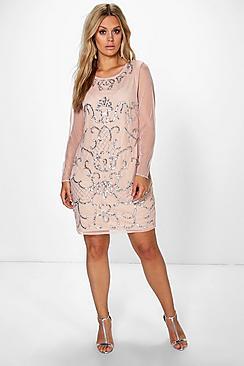 Plus Zia Embellished Long Sleeve Bodycon Dress