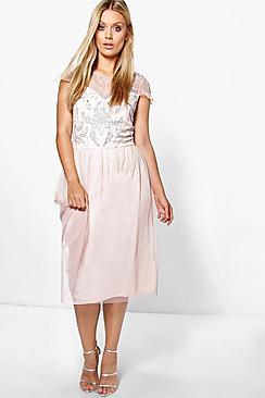 Plus Lucienne Embellished Babydoll Dress