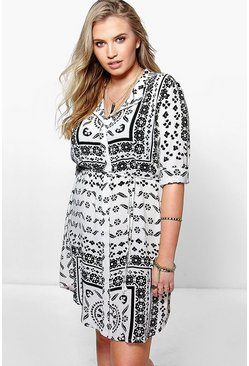 Plus Celia Printed Shirt Dress