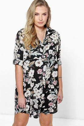 Plus Yasmine Floral Shirt Dress