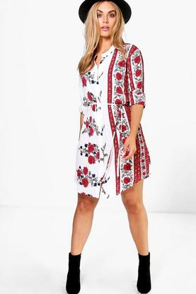Plus Codie Floral Print Shirt Dress