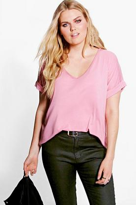 Plus Macey Roll Back T-Shirt
