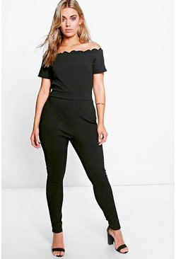 Plus Tiffany Scallop Edge Jumpsuit