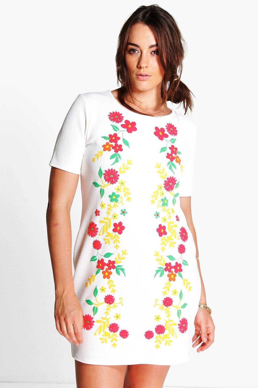 1960s Plus Size Dresses & Retro Mod Fashion Plus Rae Floral Print Shift Dress cream $14.00 AT vintagedancer.com