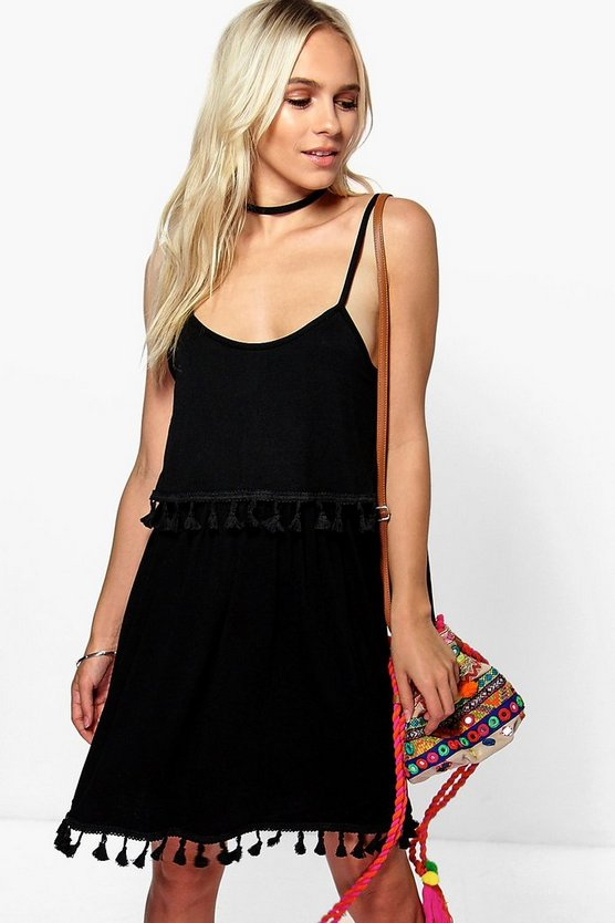 Petite Ellen Double Layer Tassel Skater Dress
