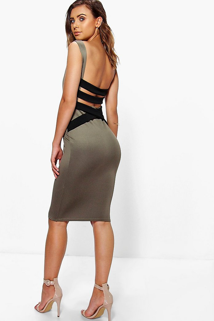 Petite Clarice Strappy Back Bodycon Midi Dress