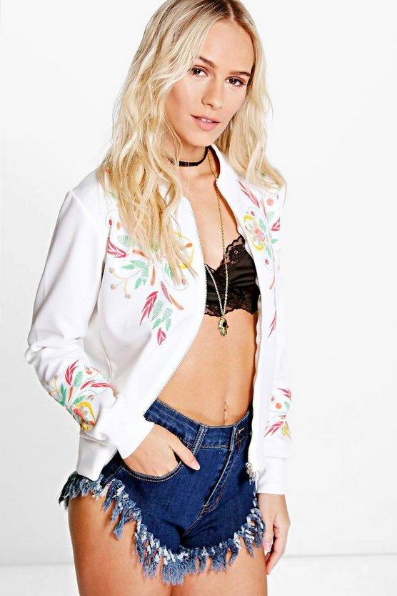 Petite Carrie Printed Embroidered Jersey Bomber