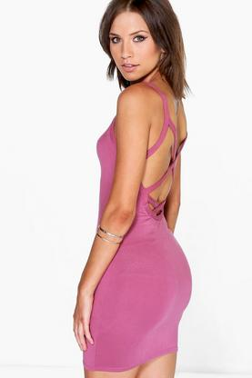 Petite Becka Strappy Cross Back Bodycon Dress