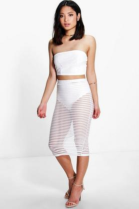 Petite Fifi Sheer Mesh Stripe Midi Skirt