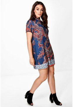 Plus Ada Border Paisley Cap Sleeve Shift Dress