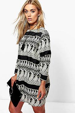 Plus Laurie Mono Paisley Long Sleeve Shift Dress