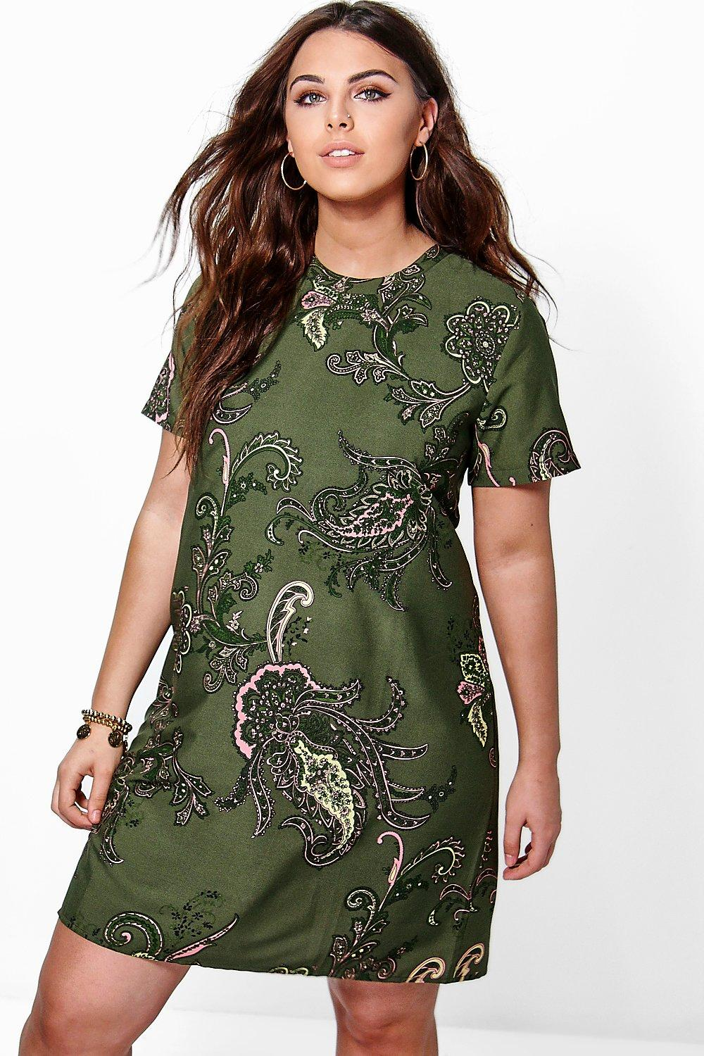 Plus Nellie Paisley Cap Sleeve Shift Dress